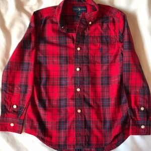 Ralph Lauren scarlet madras plaid long sleeve
